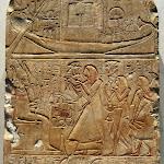 Egypte - Stèle dédiée par la famille de Houyou, chanteur de pharaon (calcaire polychrome, Abydos, début XIXe dynastie, 1550-1307 av. J.-C.)