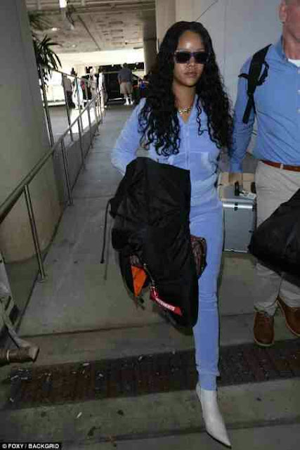 Makeup Free Rihanna and killer shoe