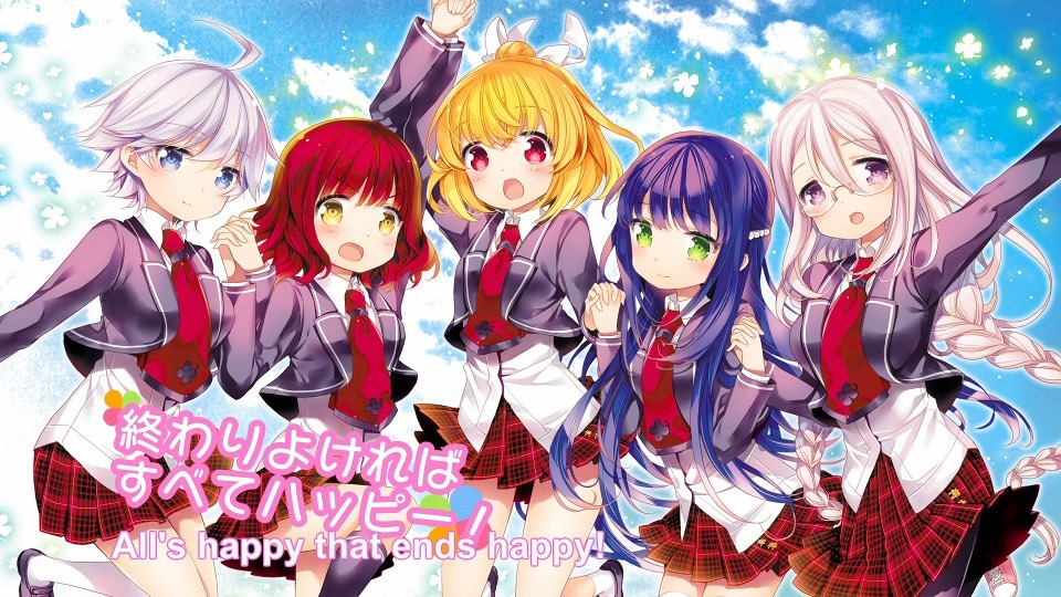 The finale episode's end card showing the entire cast of five girls done by a much better guest artist
