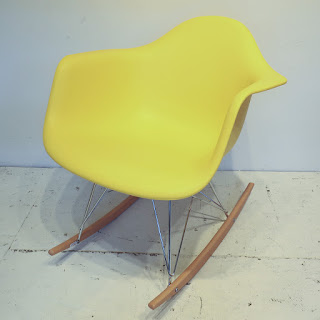 Eames-Style Yellow Rocking Chair