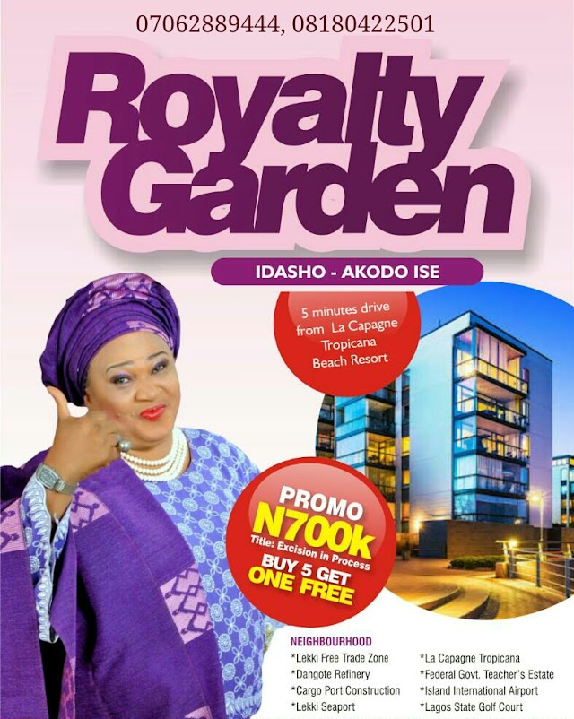ROYALTY GARDEN, IDASHO,AKODO ISE, IBEJU-LEKKI(LAND FOR SALE)