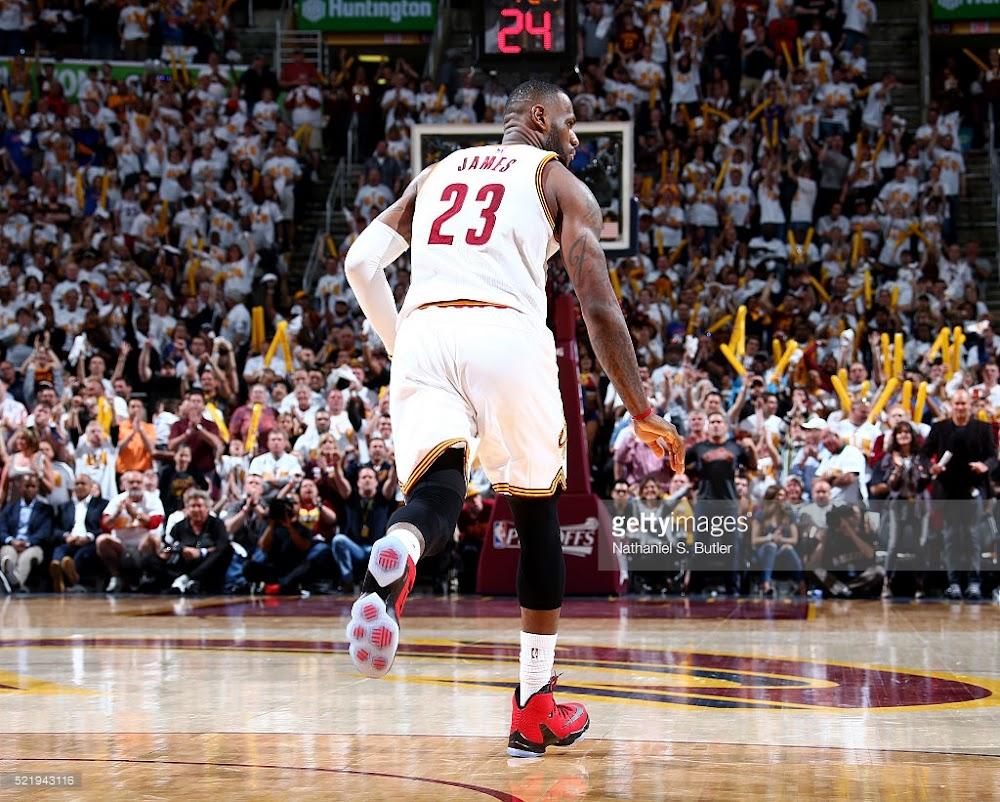 buy popular 667b8 332c2 ... James Debuts University Red LeBron 13 Elite in Playoffs Opener ...