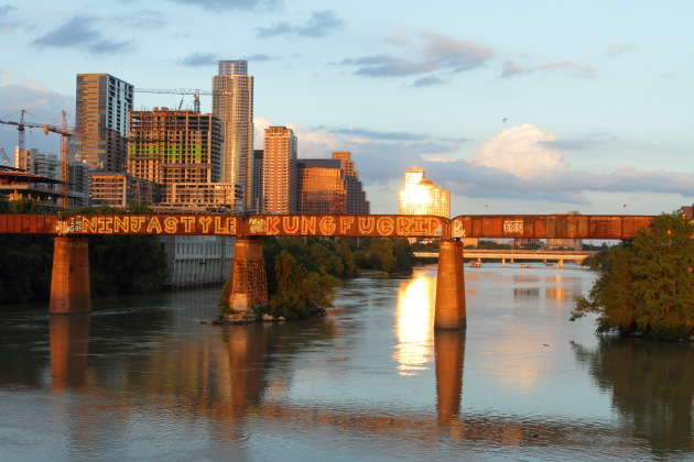 Ladbird Lake and Downtown Austin bathed in golden sunset rays, Austin