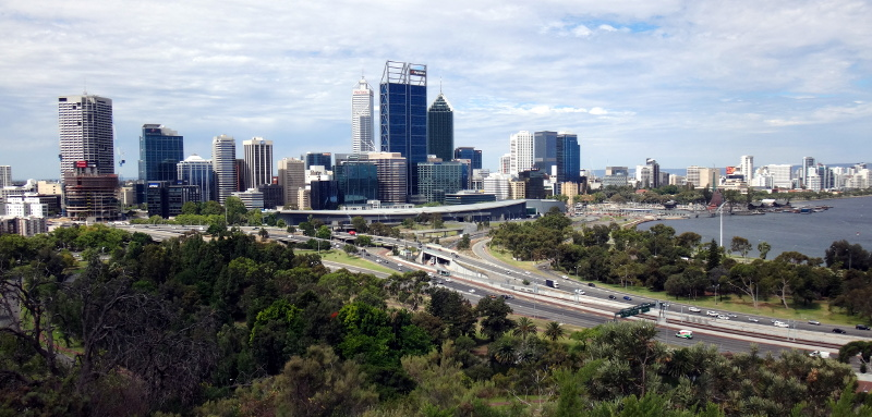 the view of the Perth city center from Kings Park