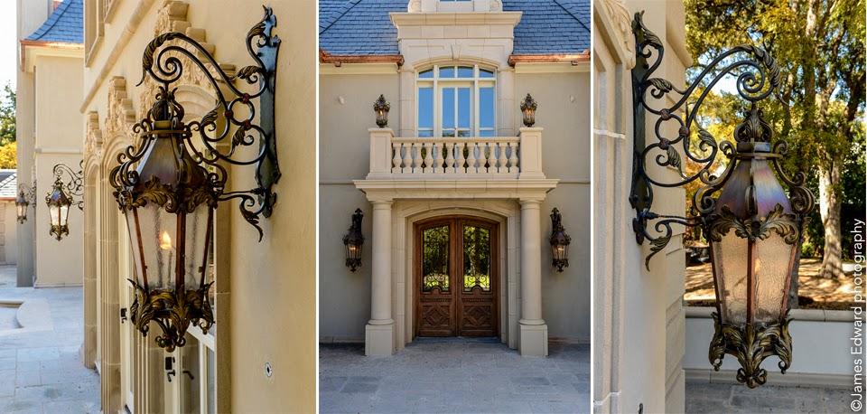 solid brass and wrought iron French style gas lanterns designed by Izabela Wojcik