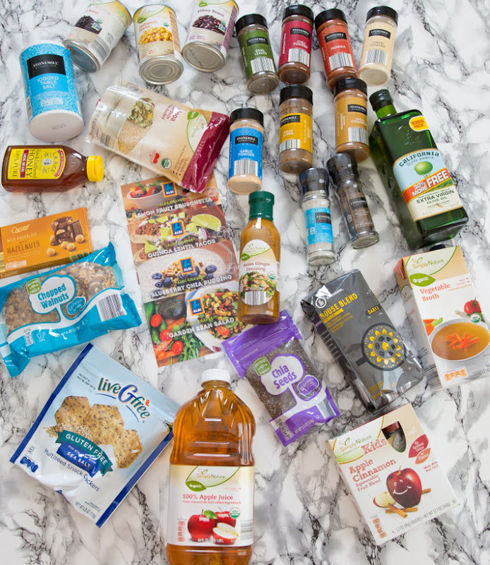 overhead photo of different Aldi products