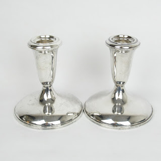 Sterling Silver Candle Holder Pair