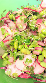 For the greens portion of the Radish, Edamame, Ricotta and Greens Sandwich, toss the onion vinaigrette with microgreens, radishes, edamame, and the quick pickled red onions