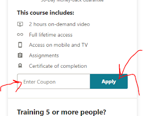 How to apply the coupon code of Udemy English courses to get them for free?