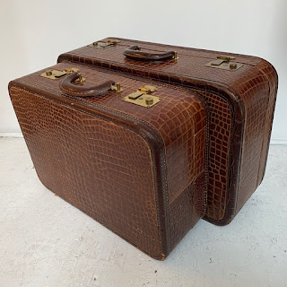 Cavanaugh Vintage Alligator Luggage Pair