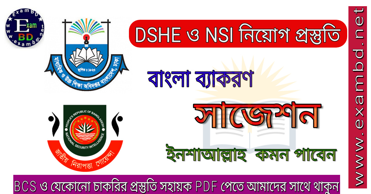 DSHE ও NSI নিয়োগ বাংলা ব্যাকরণ সাজেশন (ইনশাআল্লাহ কমন পাবেন) PDF
