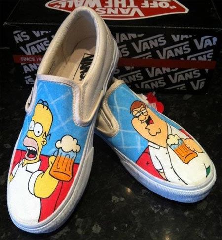 Tênis Vans customizados com personagens de desenhos animados - Os Simpsons