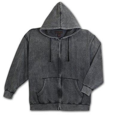 Enzyme washed hooded fleece jacket