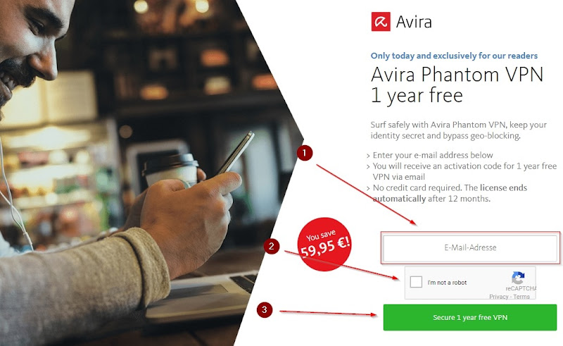 avira phantom pro vpn free for 1 year license promo page