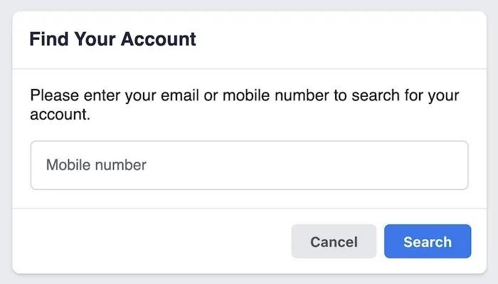 استعادة كلمة مرور حساب Facebook ابحث عن حسابك