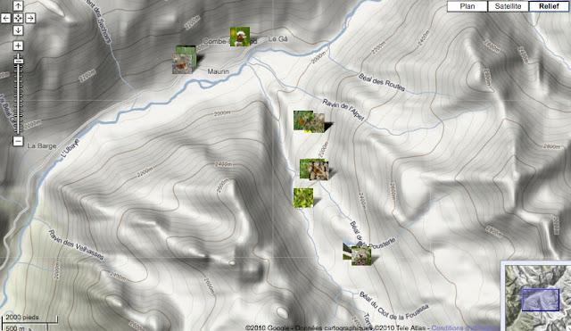 Localisation des photos entre Maurin et la Bergerie de Mary