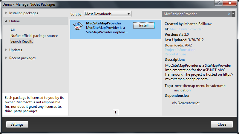 Using 'Manage NuGet Packages...' to install MvcSiteMapProvider