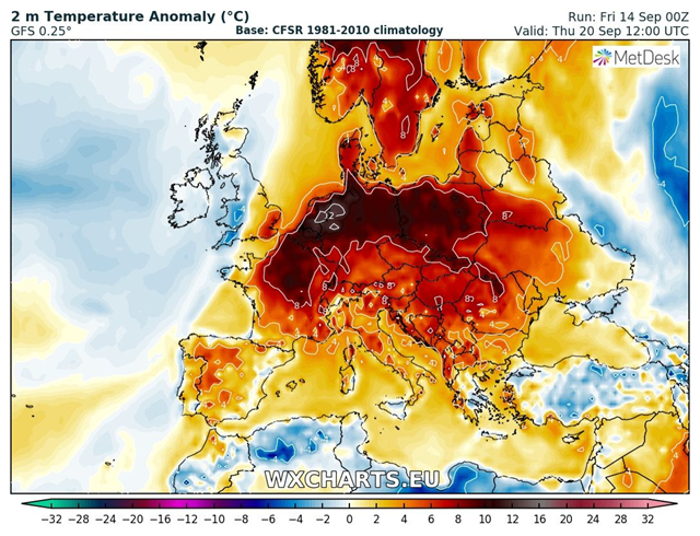 GFS model guidance for 2 m temperature anomaly – the difference between the expected temperature and long-term average temperature – for the week of 17 September 2018. The more positive the anomaly, the warmer the weather. Graphic: Wxcharts.eu