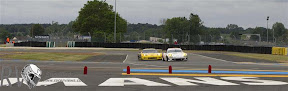The Prospeed Porsche leads the Corvette factory entry at the chicane at the end of the Le Mans circuit (PHOTO: Rolex / Jad Sherif)