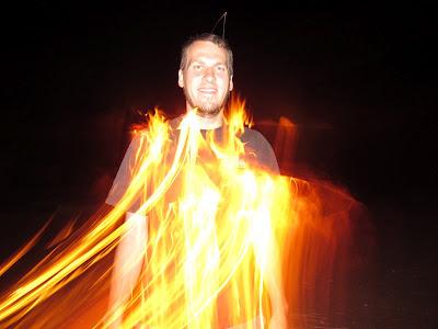 Chris on fire