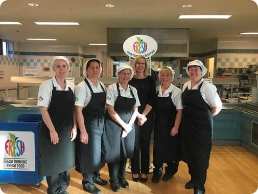 Pam Brooks with schools catering team