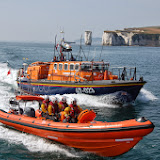 Poole all-weather Tyne class and inshore B class lifeboats on exercise off Old Harry Rocks, Poole Bay, on Sunday 14 July 2013 Photo: RNLI Poole/Dave Riley