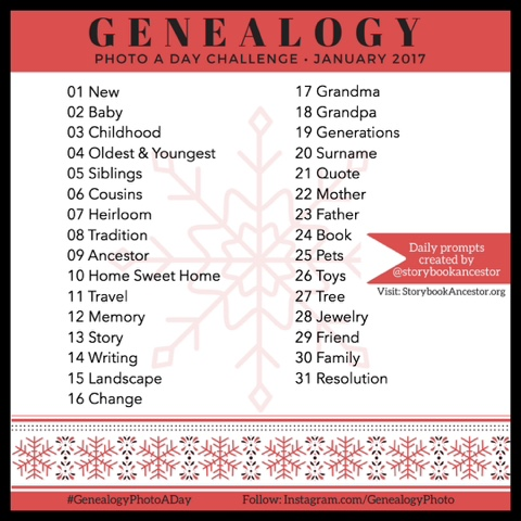 Join the Genealogy Photo A Day Challenge! The January 2017 are now ready! Visit www.GenealogyGirlTalks.com for more information!