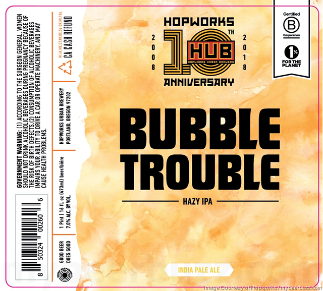 Hopworks Adding Bubble Trouble Hazy IPA Cans