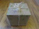Gift wrap sample box, with recycled paper and twine
