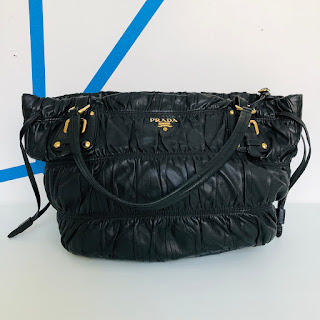 Prada Ruched Leather Shoulder Bag