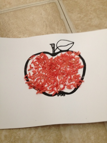 Little E Art Projects Colored Rice Apple