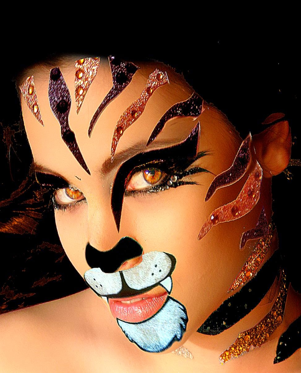 Xotic Costume Body Art Rhinestone Sticker Set For The Face   Tiger