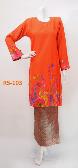 Baju Raya 2014 Limited Edition Terkini Oren Fesyen Baju Kurung Pesak Gantung Kain Songket