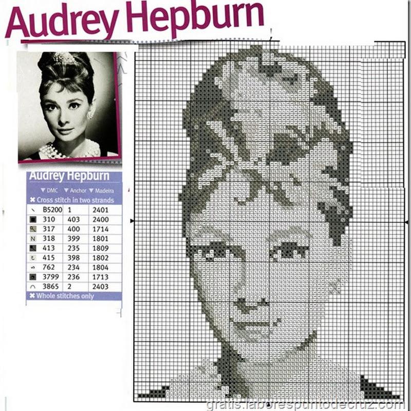 Audrey Hepburn gratis punto de cruz