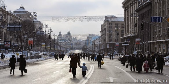Khreshchatyk street (as pedestrian zone). Kiev, Ukraine, Eastern Europe.