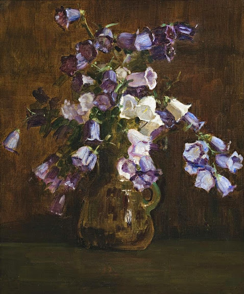 Arthur Streeton - Canterbury Bells, Purple And White, 1928