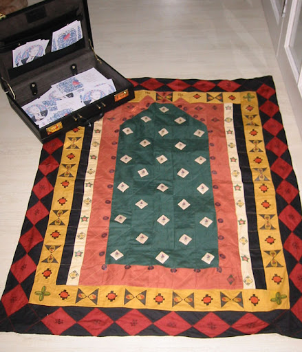 Nothing to Declare -  2004  Patchwork Prayer Mat, G W B's Briefcase, printed cards