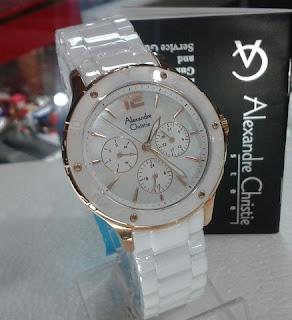 jam tangan Alexander cristie 2438SR kramik warna putih