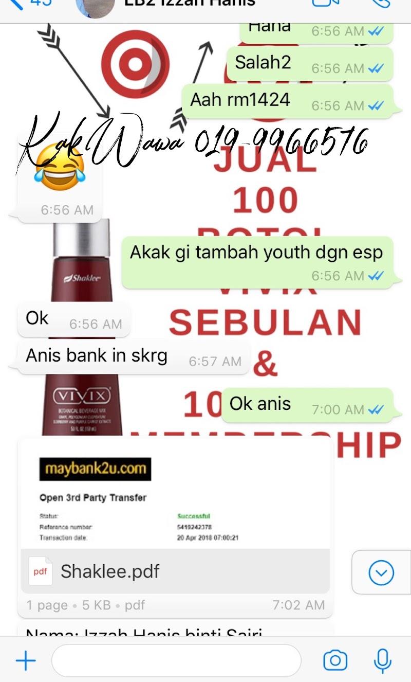 Belian Shaklee Customer Hampir RM1500