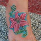 pink lily foot tattoo - tattoos ideas