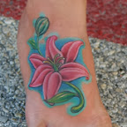 pink lily foot tattoo - tattoos ideas