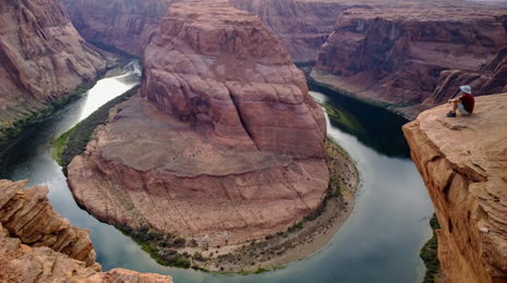 Horseshoe Bend of the Colorado River south of Page, Arizona. Zoom in on the hi-res image to see if you can spot the campsite!