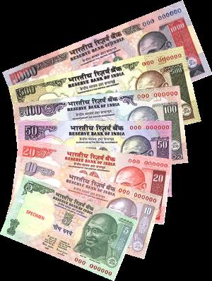 gambar mata uang rupee India kertas