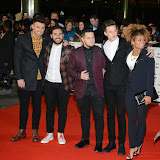 WWW.ENTSIMAGES.COM -    X Factor contestants Andrea Faustini, Paul Akister, Jack Walton and Fleur East   arriving at   MOBO Awards 2014 at SSE Arena Wembley October 22nd 2014Annual awards show recognising the best in urban music which is supported by HTC Photo Mobis Photos/OIC 0203 174 1069
