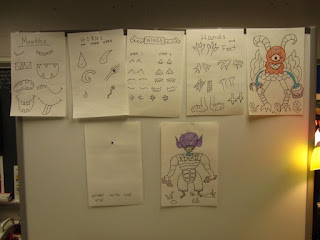 Visuals for the elementary art lesson, Purple People Eater