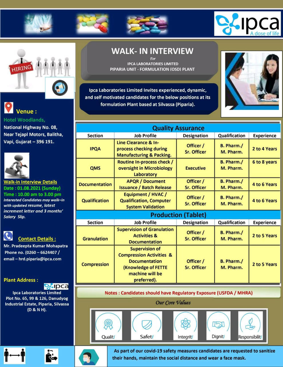 Ipca Laboratories Limited – Walk-In Interviews for Production, Quality Assurance Dept