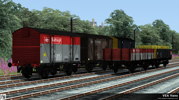 Fastline Simulation - VEA Vans: Gallery picture showing all the livery variations included in the Train Simulator VEA Vans expansion.