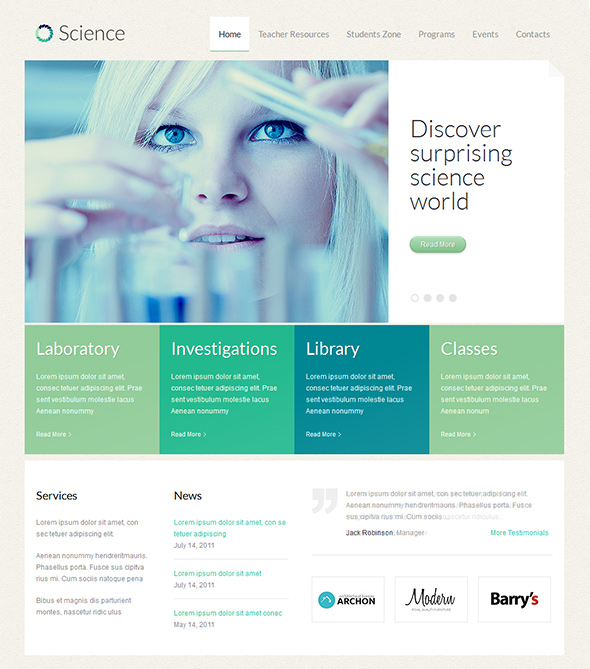 Science WordPress theme for Health Clinics