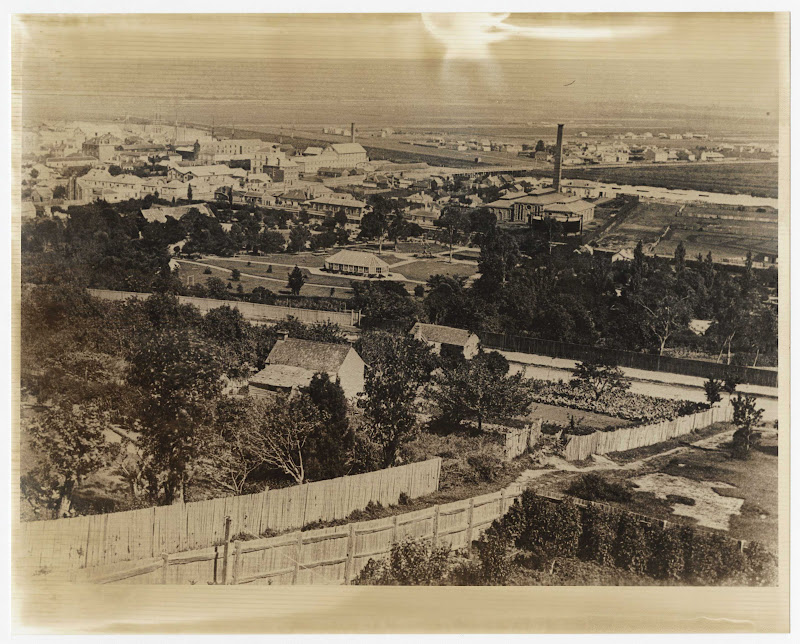 Very old view North from Windmill Hill over City Park to Gas Works and Inveresk.