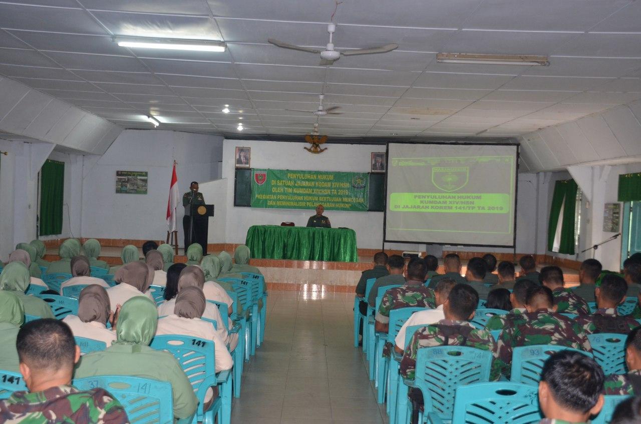 Personel Korem dan Balakrem 141/Tp Dapatkan Penyuluhan Hukum dari Kodam XIV Hasanuddin